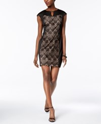 Connected Petite Lace Inset Sheath Dress Black