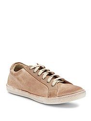 Joe's Jeans Leather Trimmed Canvas Sneakers Tan