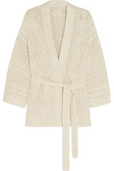 Etoile Isabel Marant Floyd Cable Knit Cotton Blend Cardigan Ecru