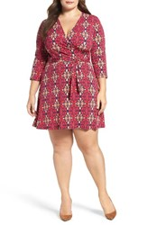 Leota Plus Size Women's Perfect Faux Wrap Jersey Dress