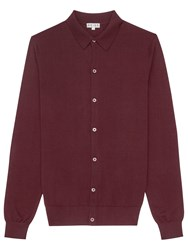 Reiss Oracle Merino Wool Polo Cardigan Bordeaux
