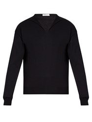 Boglioli Long Sleeved Cotton Blend Sweater Navy