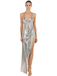 Fannie Schiavoni Stainless Steel Mesh Long Dress Silver