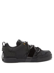 Dolce And Gabbana Logo Print Rubberised Leather Trainers Black