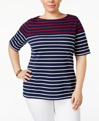 Karen Scott Plus Size Striped Boat Neck Top Only At Macy's Intrepid Blue Red Stripe