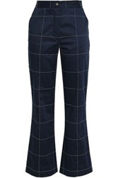 Stella Jean Checked Cotton Blend Straight Leg Pants Navy