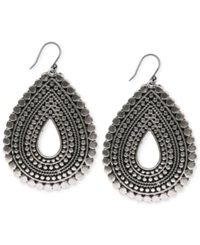 Lucky Brand Silver Tone Tribal Teardrop Earrings