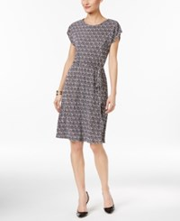 Ny Collection Petite Printed Belted A Line Dress Pastel Coding