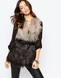 Only Ombre Faux Fur Gilet Grey