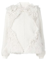 Tory Burch Panelled Fur Jacket White