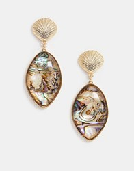 New Look Shell And Marble Effect Earrings In Gold