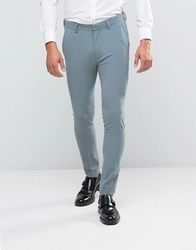 Asos Super Skinny Suit Trousers In Pastel Blue Seafoam Green