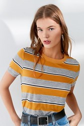 Truly Madly Deeply Striped Crew Neck Tee Yellow