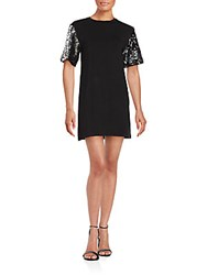 Saks Fifth Avenue Red Embellished Sleeve Solid Knit Dress Black