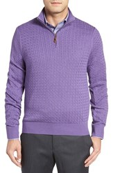 David Donahue Men's Cable Knit Silk Blend Quarter Zip Sweater Purple