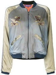Ralph Lauren Collection Embroidered Bomber Jacket Blue