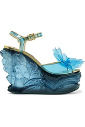 Miu Miu Leather Trimmed Appliqued Pvc And Plexiglas Wedge Sandals Light Blue