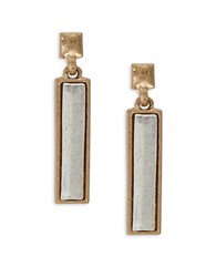 Design Lab Lord And Taylor Mixed Metal Rectangular Drop Earrings Gold
