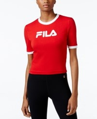 Fila Cropped Logo T Shirt Chinese Red