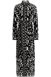 Temperley London Belted Jacquard Knit Coat Black
