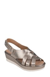 Earth 'S Sunflower Wedge Sandal Washed Gold Metallic Leather