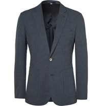 Hardy Amies Navy Slim Fit Cotton Blend Blazer