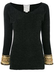 Christian Dior Vintage Chinille Blouse Black