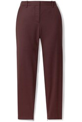 Nili Lotan Leo Wool Blend Twill Tapered Pants Burgundy