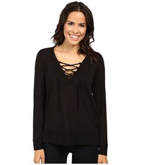 Lanston Lace Up Pullover Black Women's Clothing