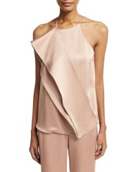 Halston Sleeveless Draped Satin Blouse W Topstitching Light Beige