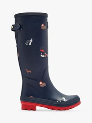 Joules Dogs Printed Waterproof Rubber Wellington Boots Navy