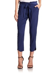 Ramy Brook Allyn Stretch Silk Pants Navy