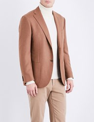 Corneliani Leader Tailored Fit Camel And Wool Blend Jacket Tan