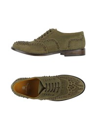 Leather Crown Lace Up Shoes Military Green