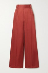 Mother Of Pearl Net Sustain Cora Picot Trimmed Hammered Satin Wide Leg Pants Brick