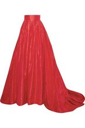 Carolina Herrera Woman Pleated Silk Taffeta Maxi Skirt Red