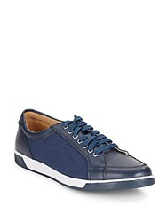 Cole Haan Vartan Leather And Canvas Sport Oxford Sneakers Blue