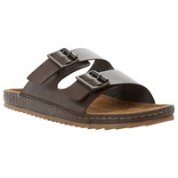 Bertie Frodo Double Buckle Leather Sandals Brown