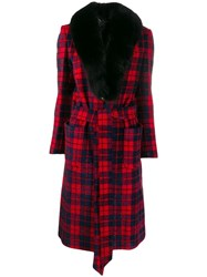Philipp Plein Fur Lined Tartan Coat Black