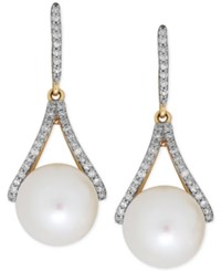 Honora Style Freshwater Pearl 9Mm And Diamond 1 5 Ct. T.W. Drop Earrings In 14K Gold White