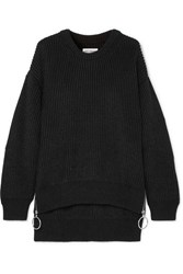 Paco Rabanne Zip Detailed Ribbed Cotton Blend Sweater Black