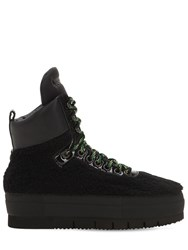 Philippe Model Adele Faux Shearling High Top Sneakers Black
