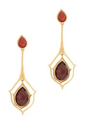 Isharya Abstract Mughal Gold Plated Drop Earrings Pink