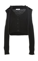 Adeam Black Chunky Off The Shoulder Cardigan