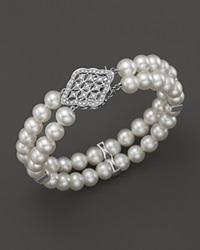 Bloomingdale's Cultured Freshwater Pearl Bracelet With Diamonds In 14K White Gold