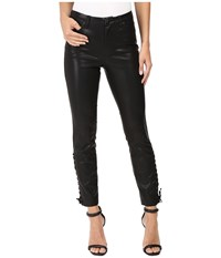 Blank Nyc Vegan Leather Lace Up Skinny In With Friends Black Women's Jeans