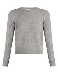 Saint Laurent Distressed Cropped Sweater Grey