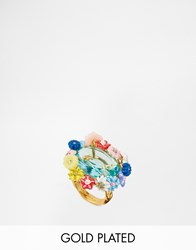Les Nereides Floral Jewel Statement Ring Gold