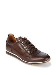 Saks Fifth Avenue By Magnanni Lace Up Leather Sneakers Brown
