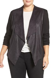 Tart Plus Size Women's 'Shanan' Faux Leather And Knit Drape Front Jacket